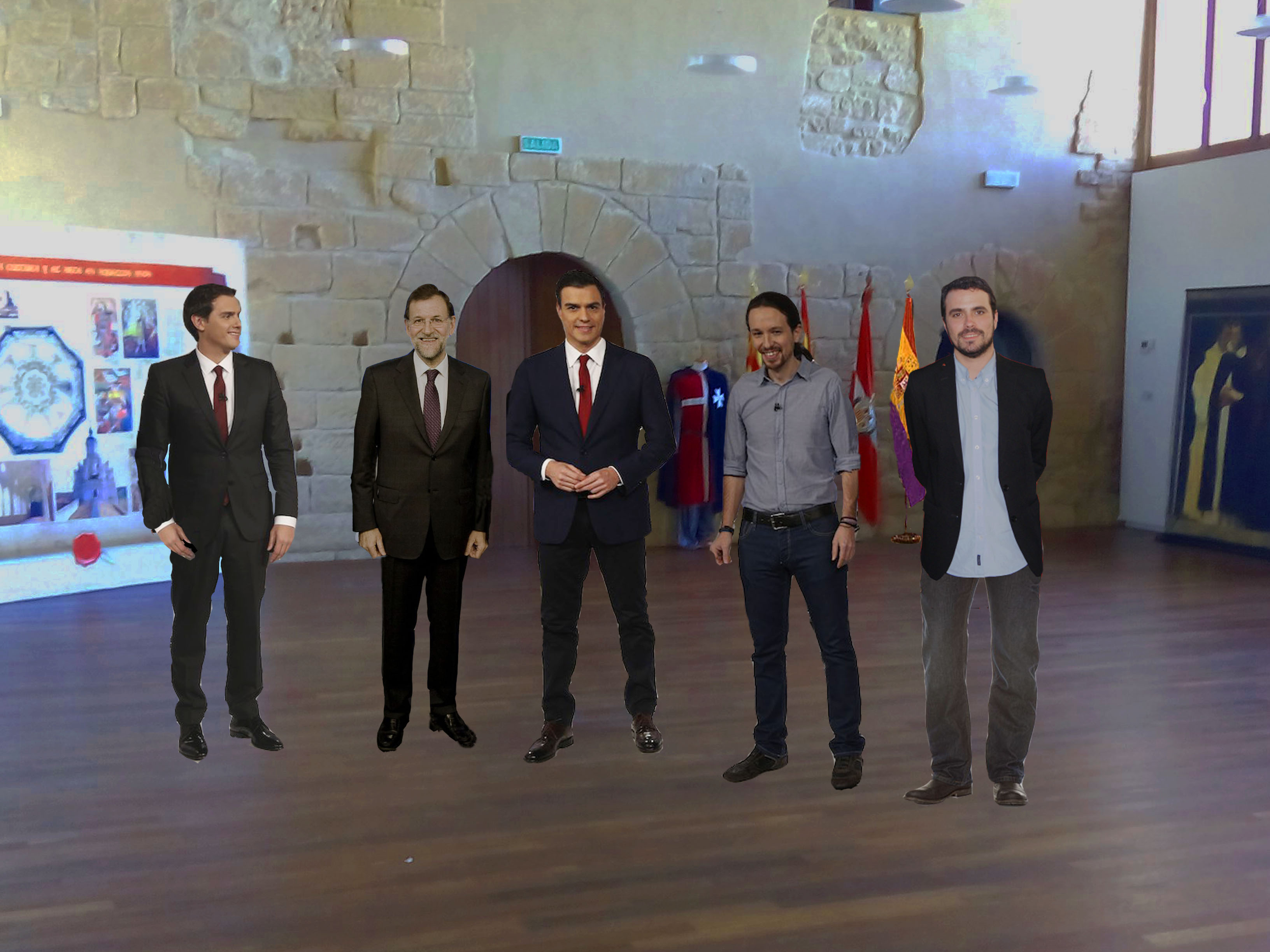 Los candidatos, emperifollaos para visitar el Centro de interpretación del Compromiso