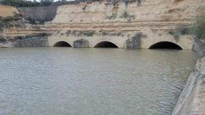 Los tres túneles, a tope, en la riada de marzo de 2015
